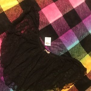 Black Lace Crop Top NWT
